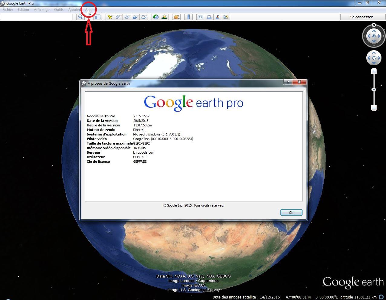 [résolu] Bande image disponible pour Google Earth Versio10