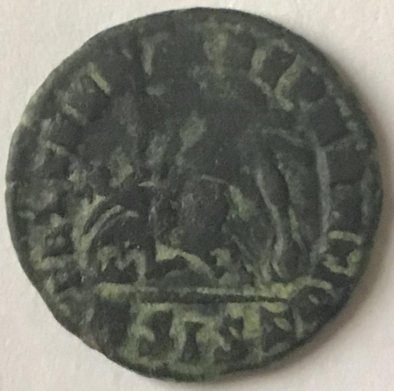 AE3 de Constancio II. FEL TEMP - REPARATIO. Soldado romano alanceando a jinete caído. Siscia. Ddfdb710