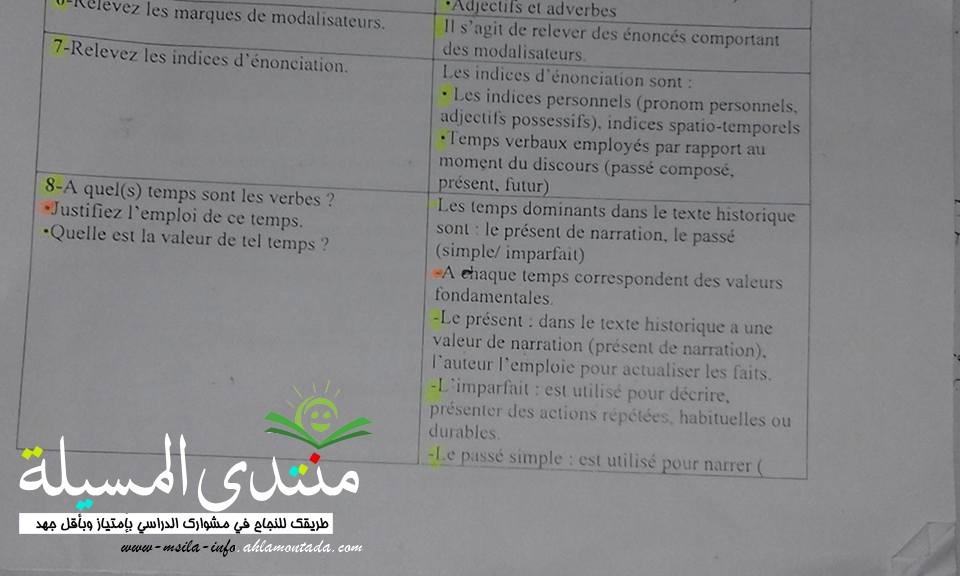 أسئلة متوقعة + اجاباتها مع تبرير في فرنسية للسنة 3 ثانوي  110