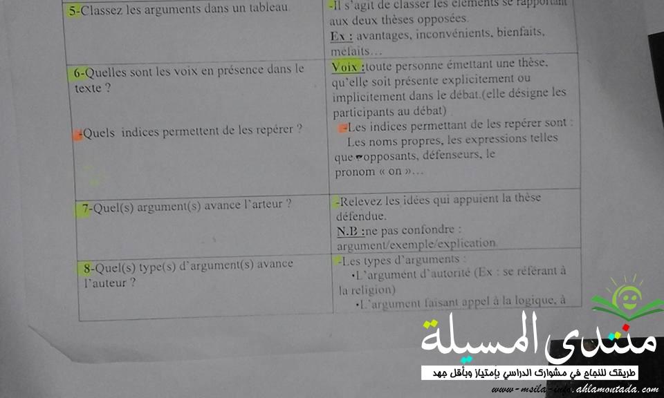 أسئلة متوقعة + اجاباتها مع تبرير في فرنسية للسنة 3 ثانوي  311
