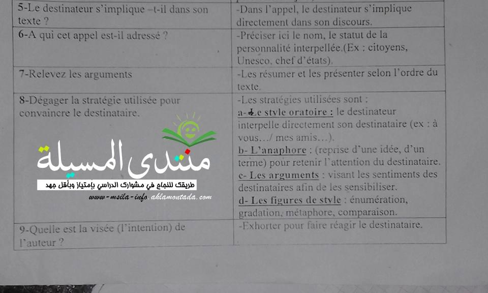 أسئلة متوقعة + اجاباتها مع تبرير في فرنسية للسنة 3 ثانوي  611
