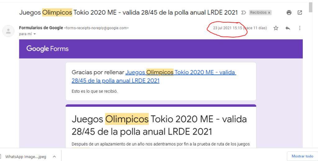 Juegos Olimpicos Tokio 2020 ME - valida 28/45 de la polla anual LRDE 2021 Captur10