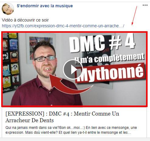 Améliorer le rendu de son lien Youtube sur Facebook Exempl11