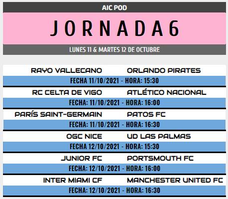 [AICv28] Horarios J6, J7 & J8 de Liga HF POD Pod_j610