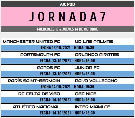 [AICv28] Horarios J6, J7 & J8 de Liga HF POD Pod_j710