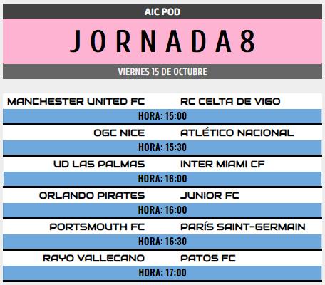 [AICv28] Horarios J6, J7 & J8 de Liga HF POD Pod_j810