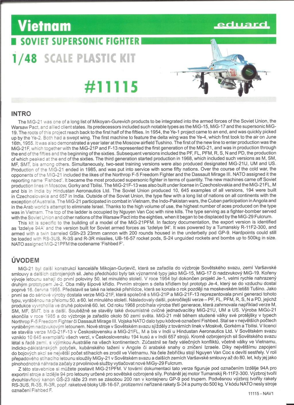 [EDUARD] MIKOYAN & GOUREVITCH MIG 21 PFM VIÊTNAM 1/48ème Réf 11115 Eduard13