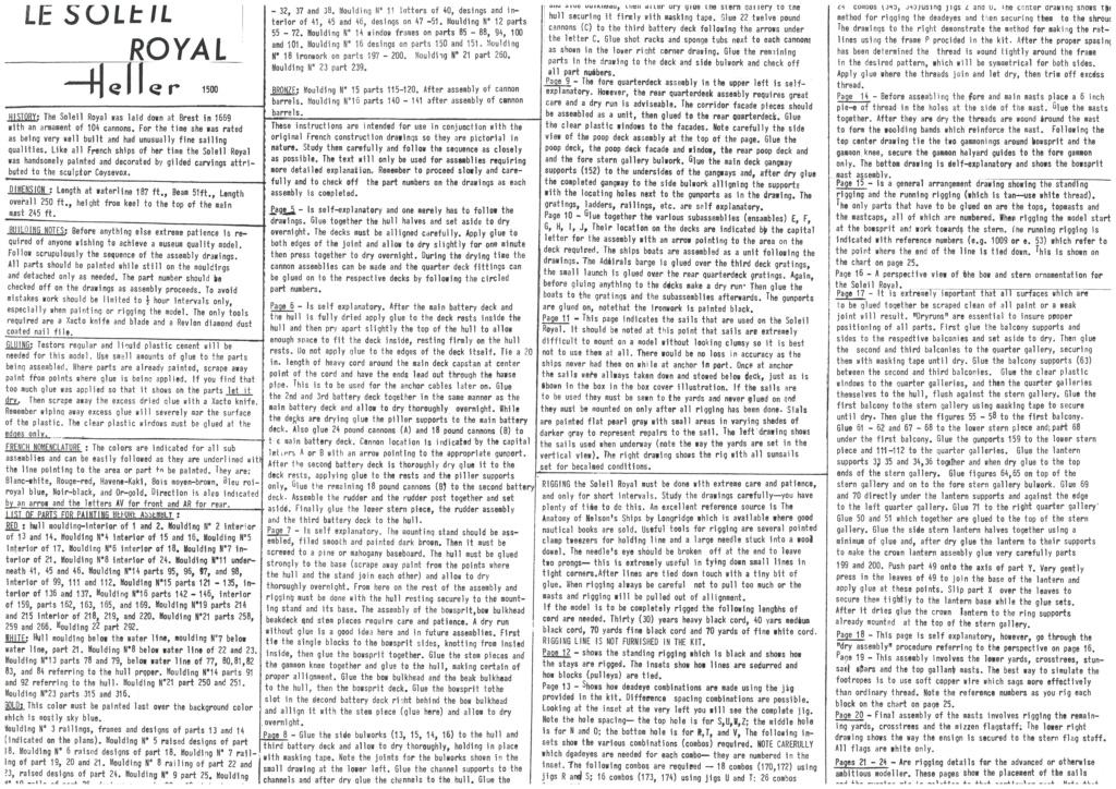 Vaisseau SOLEIL ROYAL 1/100ème Réf 899 Notice Hell1367