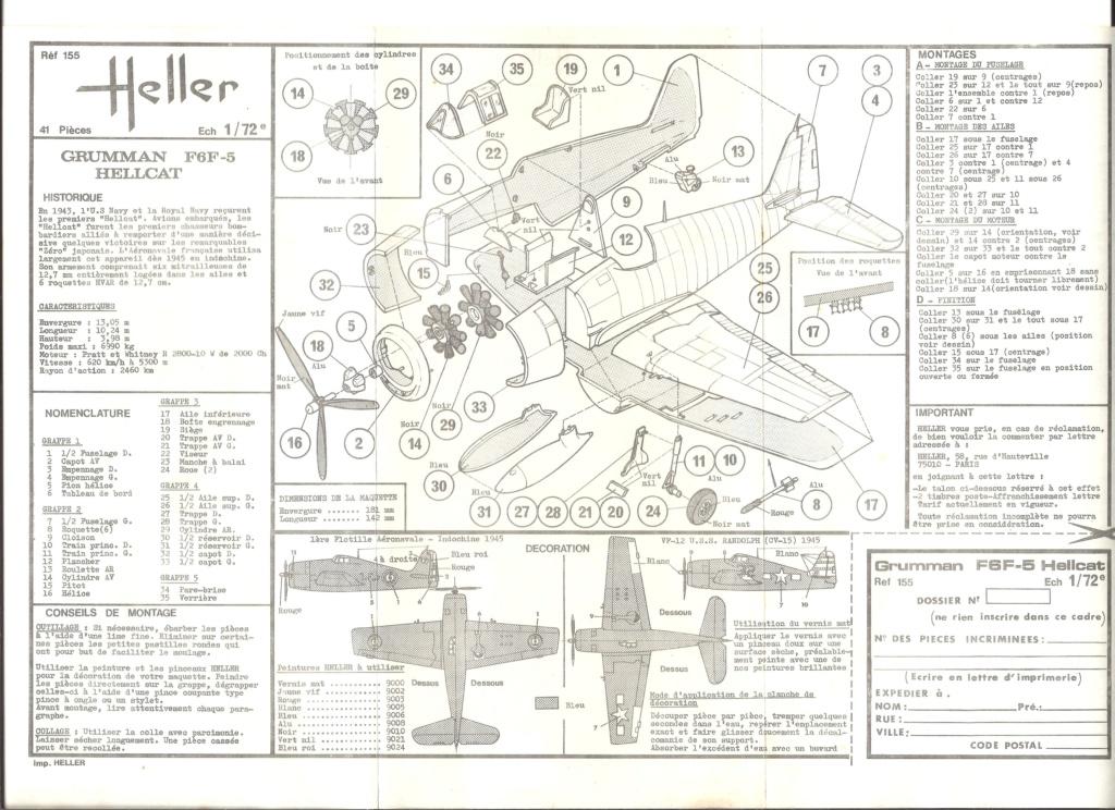 GRUMMAN F6F 5 HELLCAT 1/72ème Réf 155 Notice Helle380