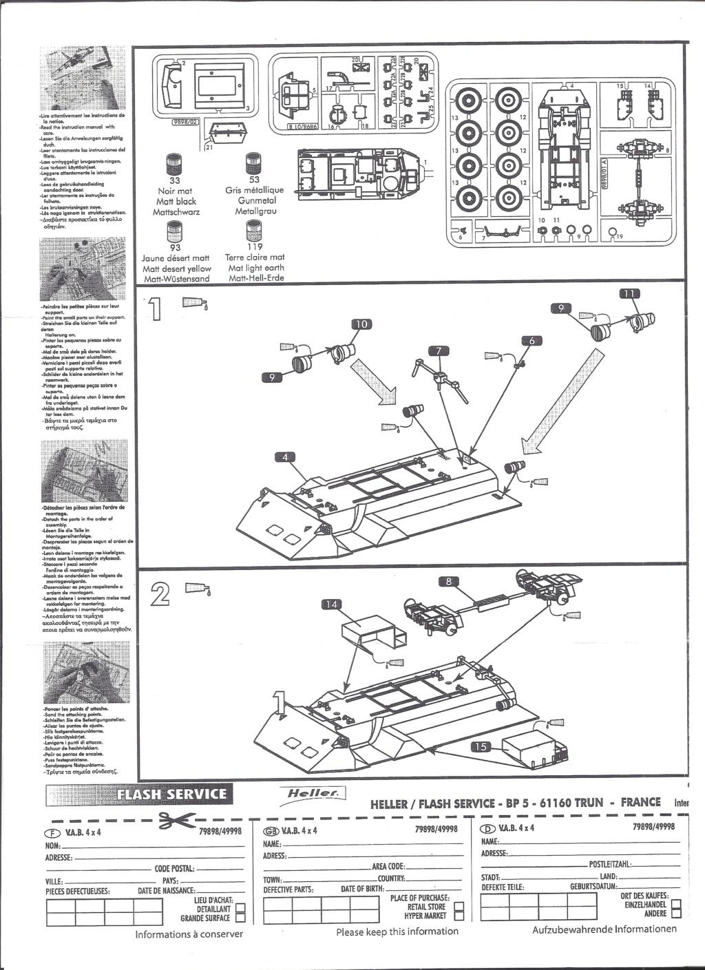 RENAULT VAB 4X4 1/72ème Ref 79898 Notice Helle382