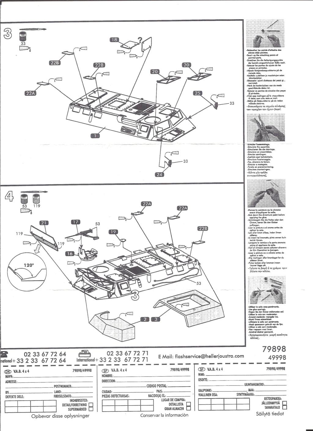 RENAULT VAB 4X4 1/72ème Ref 79898 Notice Helle383