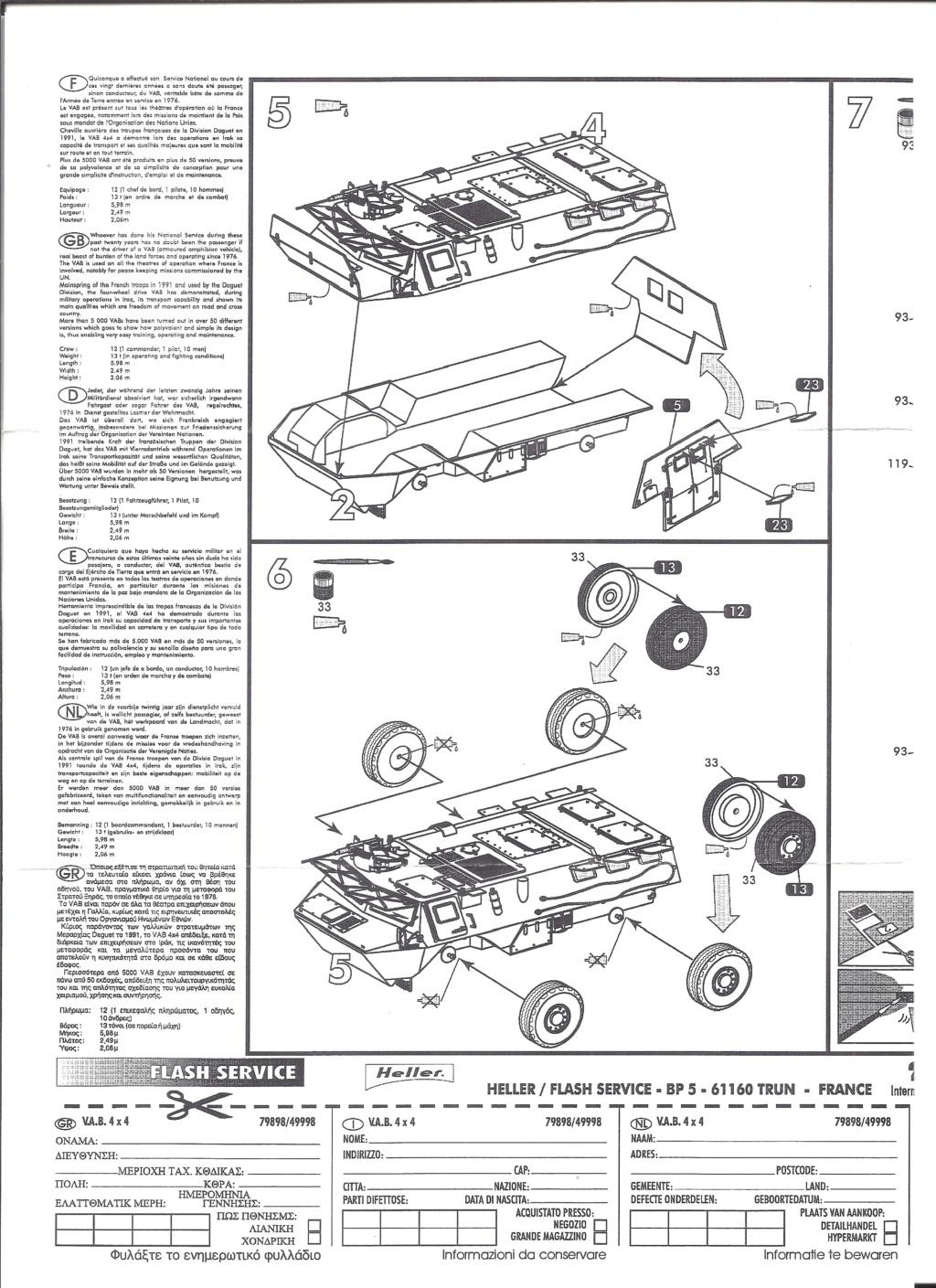 RENAULT VAB 4X4 1/72ème Ref 79898 Notice Helle384