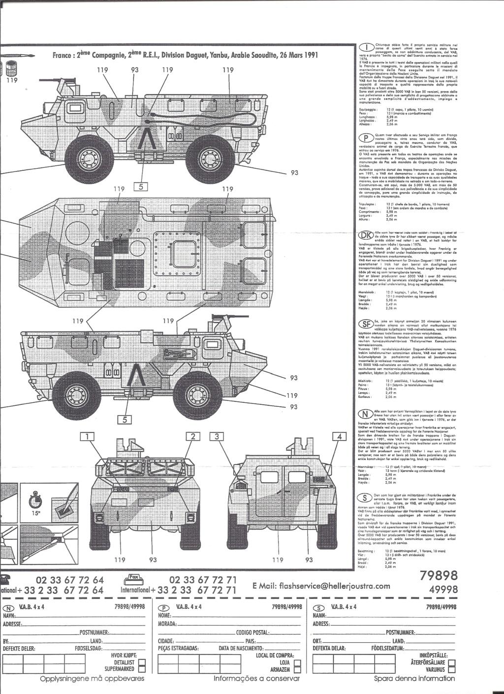 RENAULT VAB 4X4 1/72ème Ref 79898 Notice Helle385