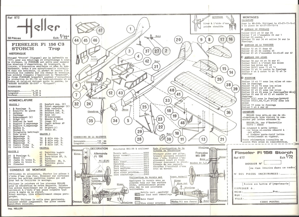 FIESELER Fi 156 C3 STORCH 1/72ème Réf 072 Notice Helle457
