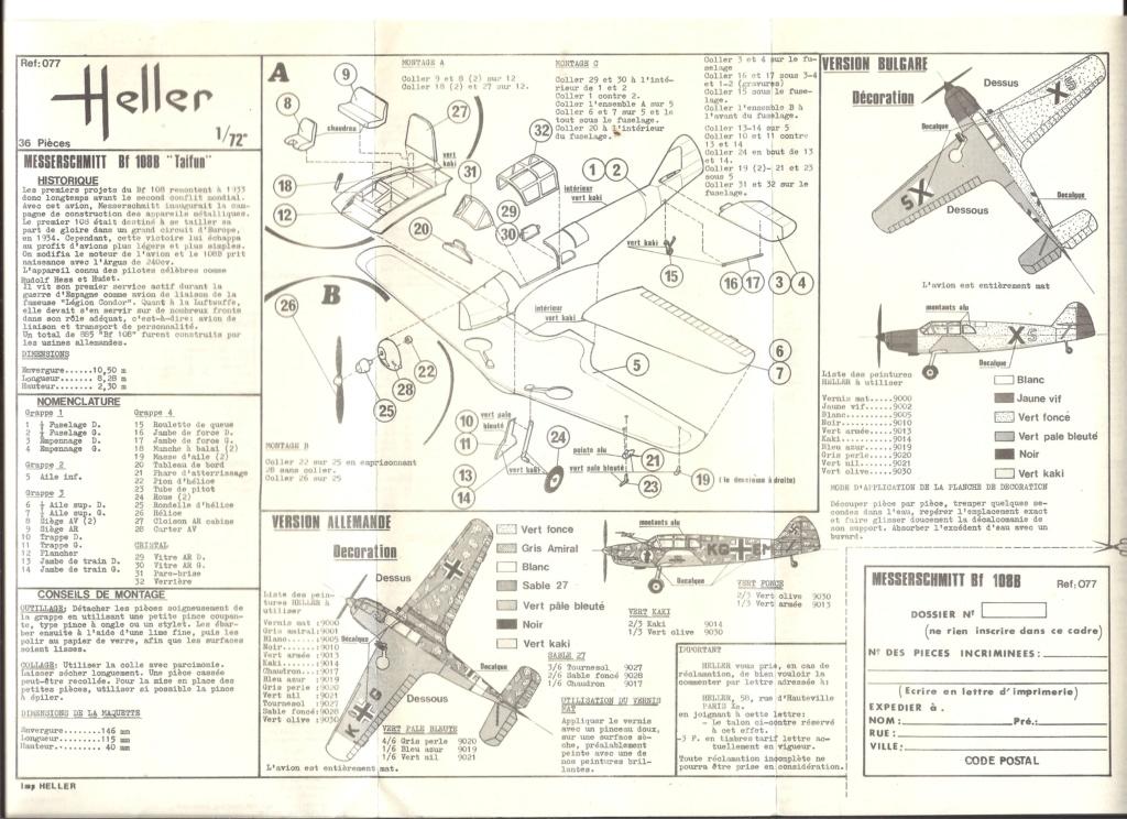 MESSERSCHMITT Bf 108 B TAIFUN 1/72ème Réf 077 Notice Helle458