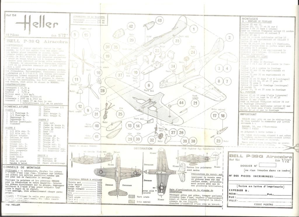 BELL P 39 Q AIRACOBRA 1/72ème Ref 154 Notice Helle461
