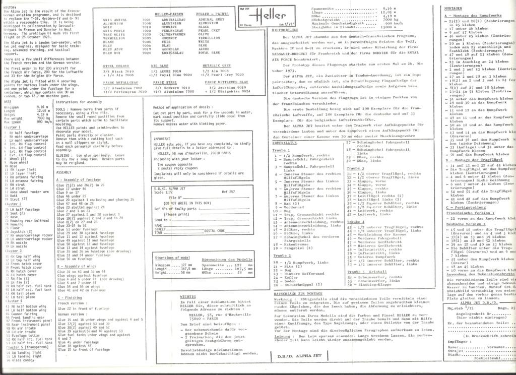 DASSAULT-BREGUET DORNIER ALPHA JET 1/72ème Ref 257 Notice Helle484