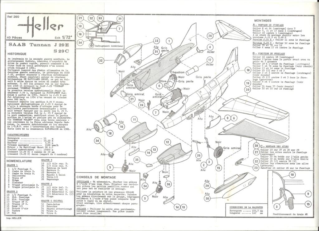 SAAB J 29 TUNNAN 1/72ème Réf 260 Notice Helle485
