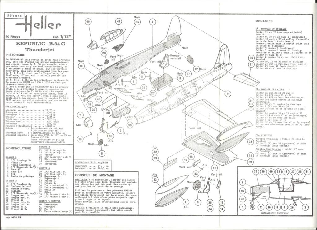 REPUBLIC F 84 G THUNDERJET 1/72ème Réf 278 Notice Helle489