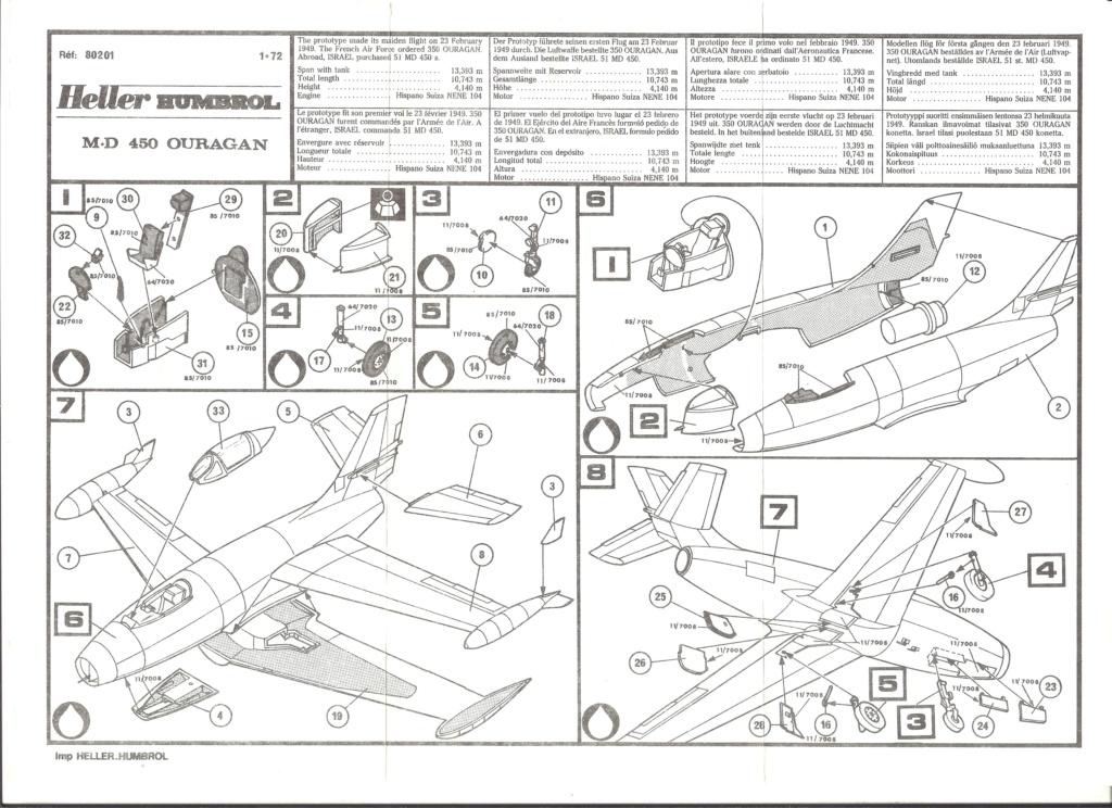 DASSAULT MD 450 OURAGAN 1/72ème ref 80201 Notice Helle502