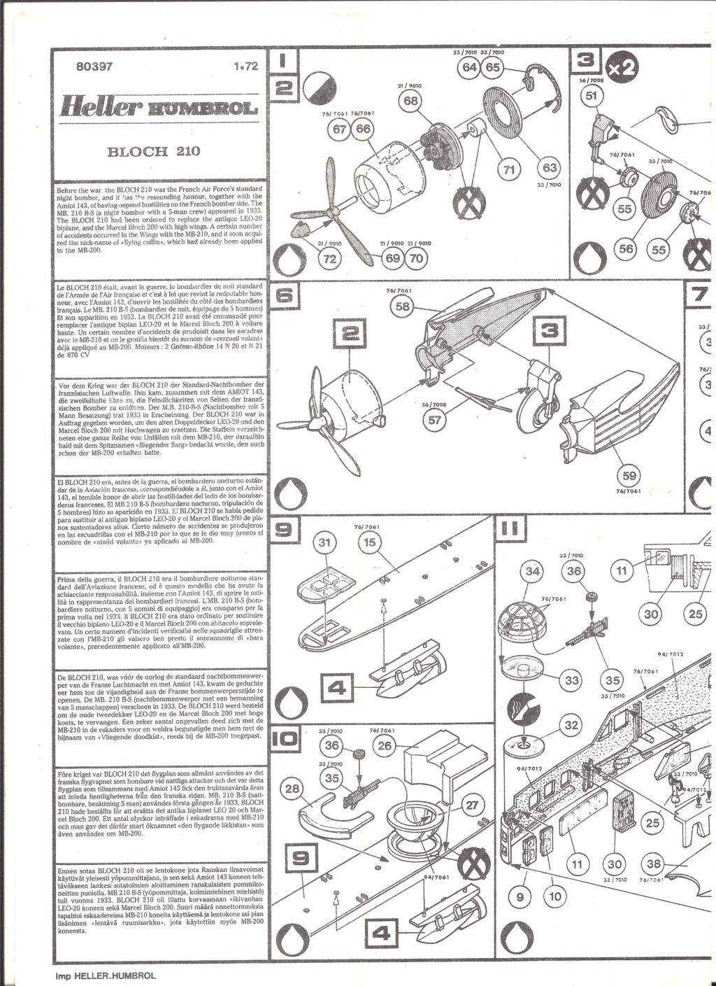 BLOCH MB 210 1/72ème Ref 80397 Notice Helle515