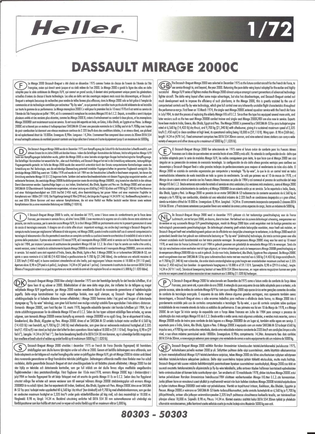 DASSAULT MIRAGE 2000 C 1/72ème Réf 80303 Notice Helle567