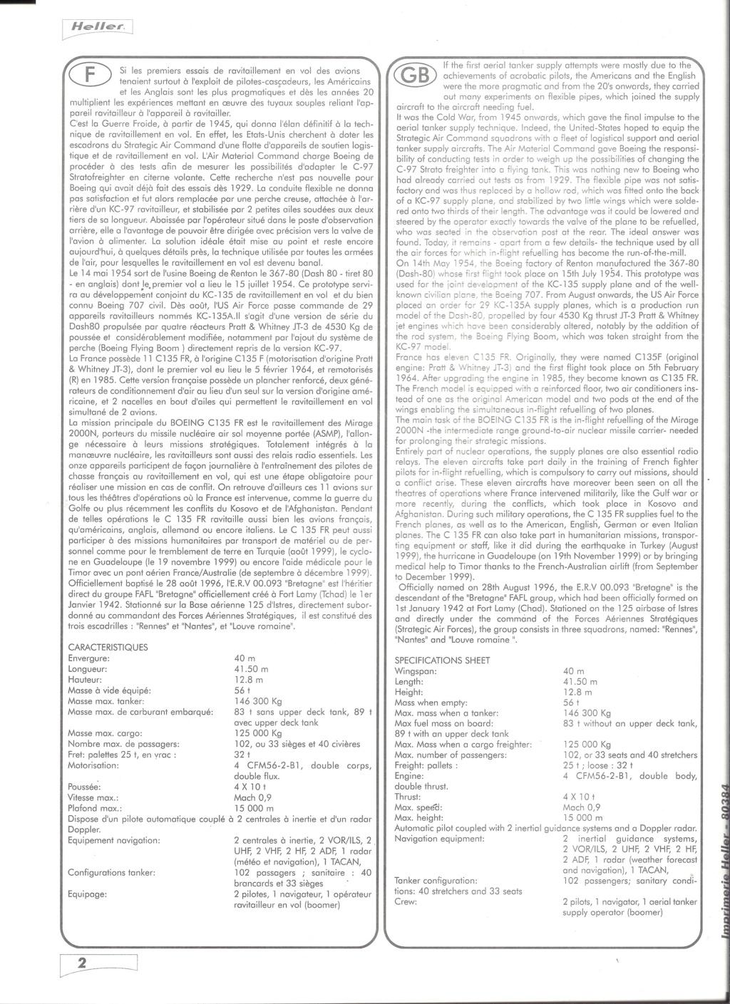 BOEING C 135 FR 1/72ème Ref 80384 Notice Helle582