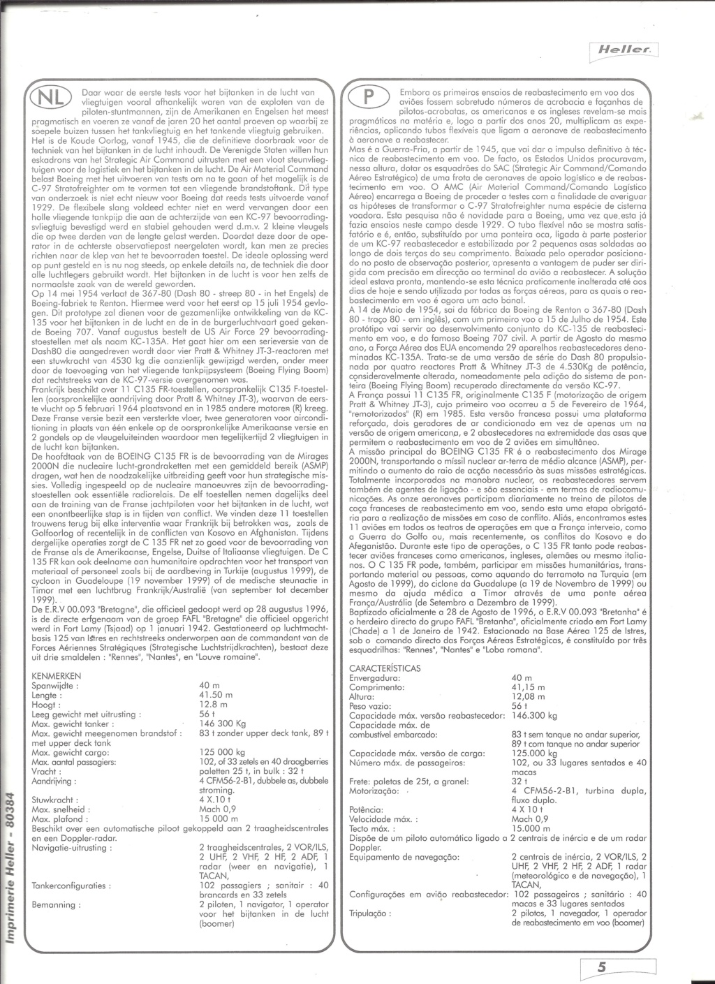 BOEING C 135 FR 1/72ème Ref 80384 Notice Helle585