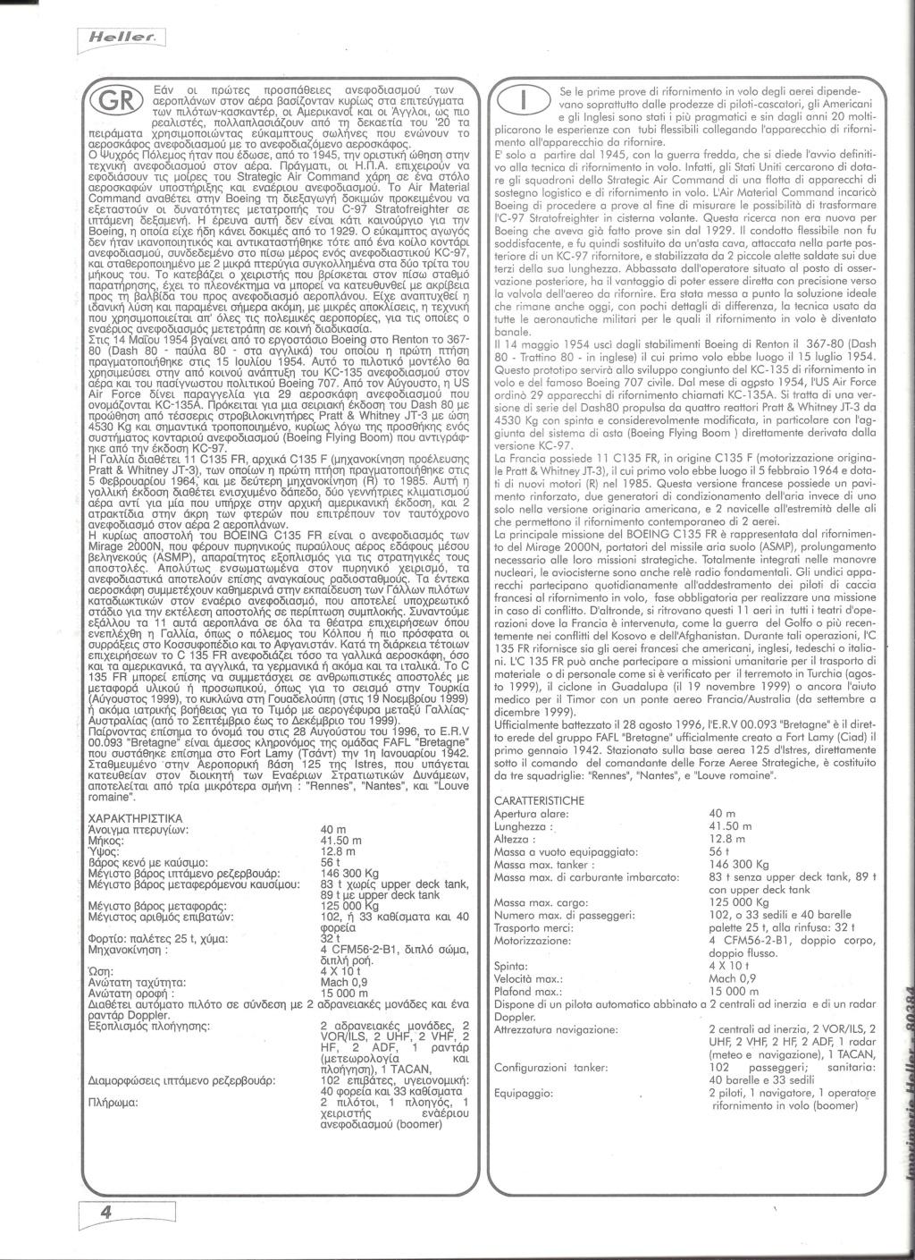 BOEING C 135 FR 1/72ème Ref 80384 Notice Helle586