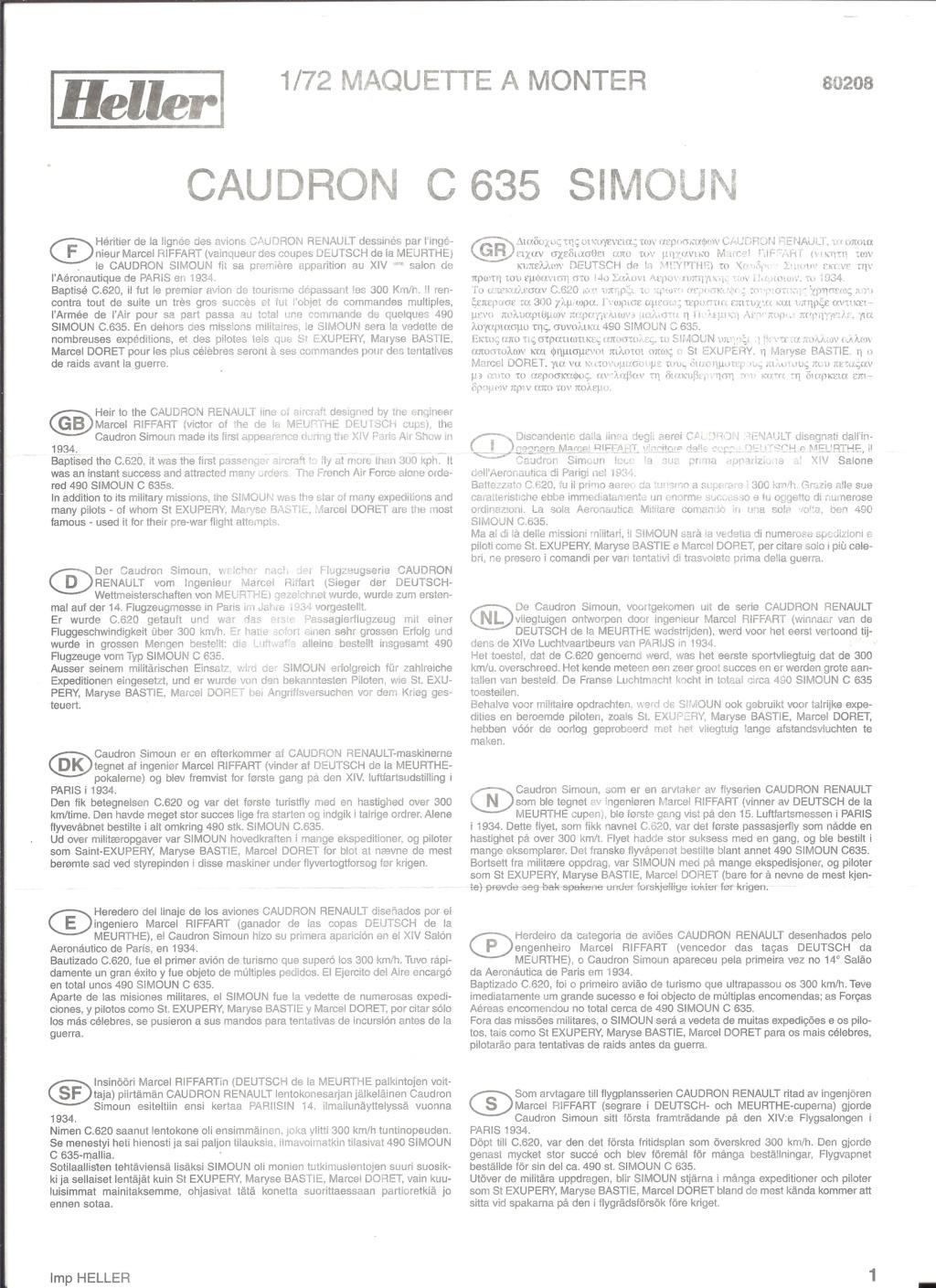 CAUDRON RENAULT C 635 SIMOUN 1/72ème Réf 80208 Helle622