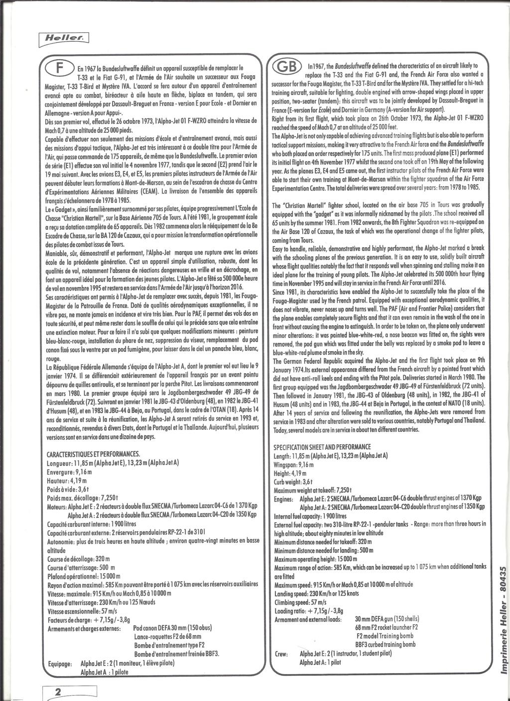 DASSAULT-BREGUET / DORNIER ALPHA JET 1/48ème Réf 80435 Notice Helle657