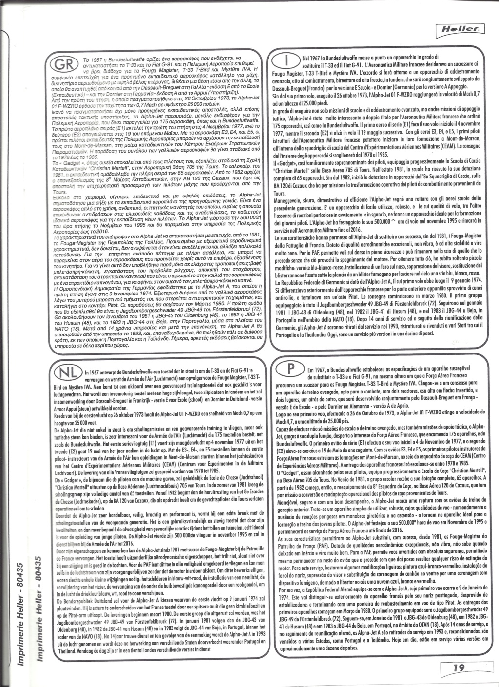 DASSAULT-BREGUET DORNIER ALPHA JET 1/48ème Réf 80435 Notice Helle674