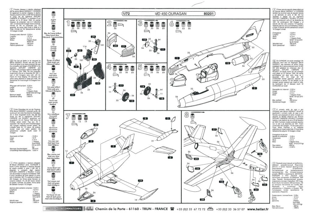 DASSAULT MD 450 OURAGAN 1/72ème ref 80201 Notice Helle687