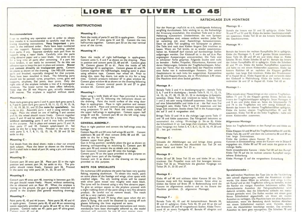 LIORE & OLIVIER Lé0 45 1/72ème Réf L 391 Notice Helle690