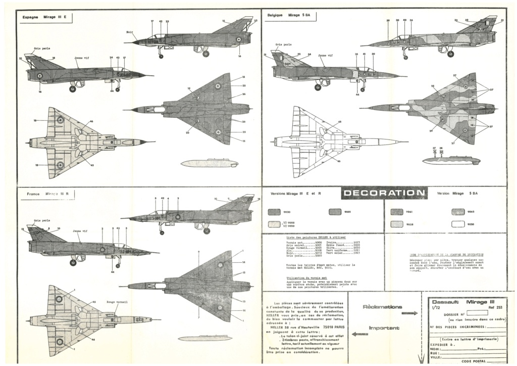 DASSAULT MIRAGE III E/R et 5 BA 1/72ème Réf 253 Notice Helle692