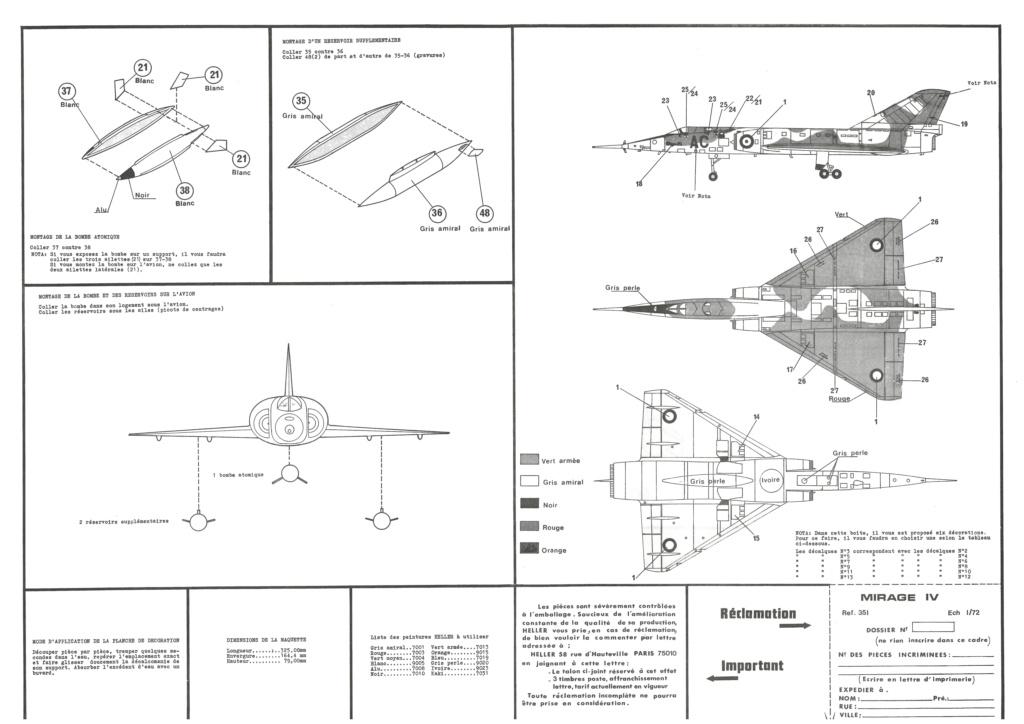 DASSAULT MIRAGE IV A 1/72ème Ref 351 Notice Helle699