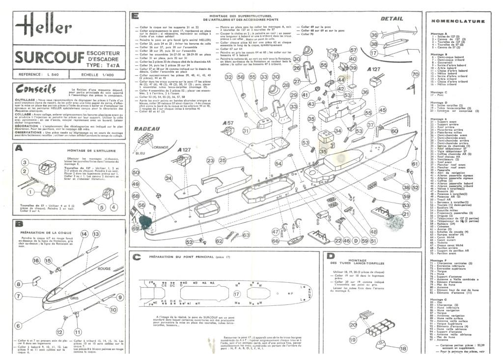 Escorteur d escadre type T 47 A SURCOUF 1/400ème Réf L540 Notice Helle747