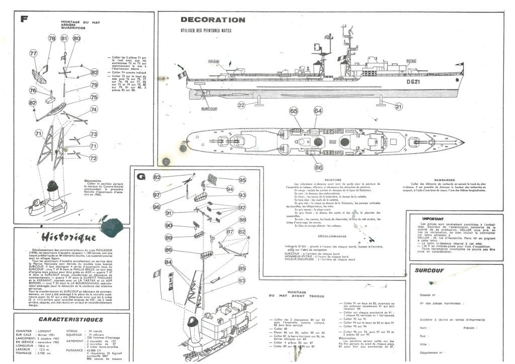 Escorteur d escadre type T 47 A SURCOUF 1/400ème Réf L540 Notice Helle748