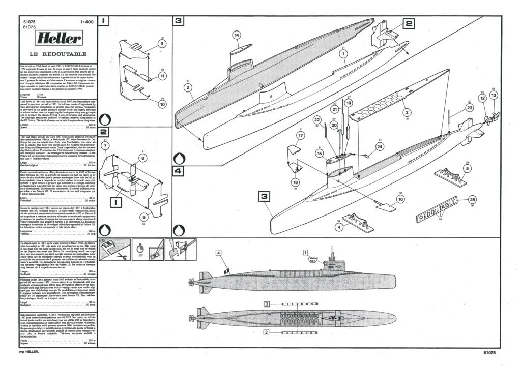 Sous-marin nucléaire  lanceurs d engins SNLE REDOUTABLE 1/400ème Réf 81075 Helle751