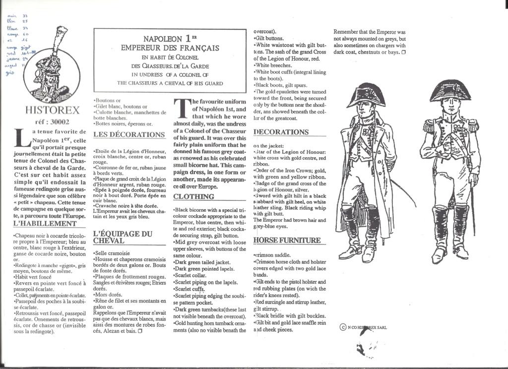 [HISTOREX] NAPOLEON 1er Empereur des français en habit de colonel des Chasseurs de la Garde Impériale 1/30ème Réf 30002 Notice Histo117