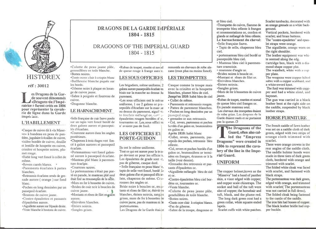 [HISTOREX] Régiment Dragon à cheval de la Garde Impériale 1806 - 1815 1/30ème Réf 30012 Notice Histo125