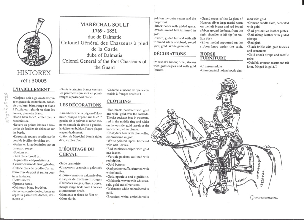 [HISTOREX] Maréchal SOULT Colonel Général des Chasseurs à pieds de la Garde Impériale 1/30ème Réf 30005 Notice Histo130