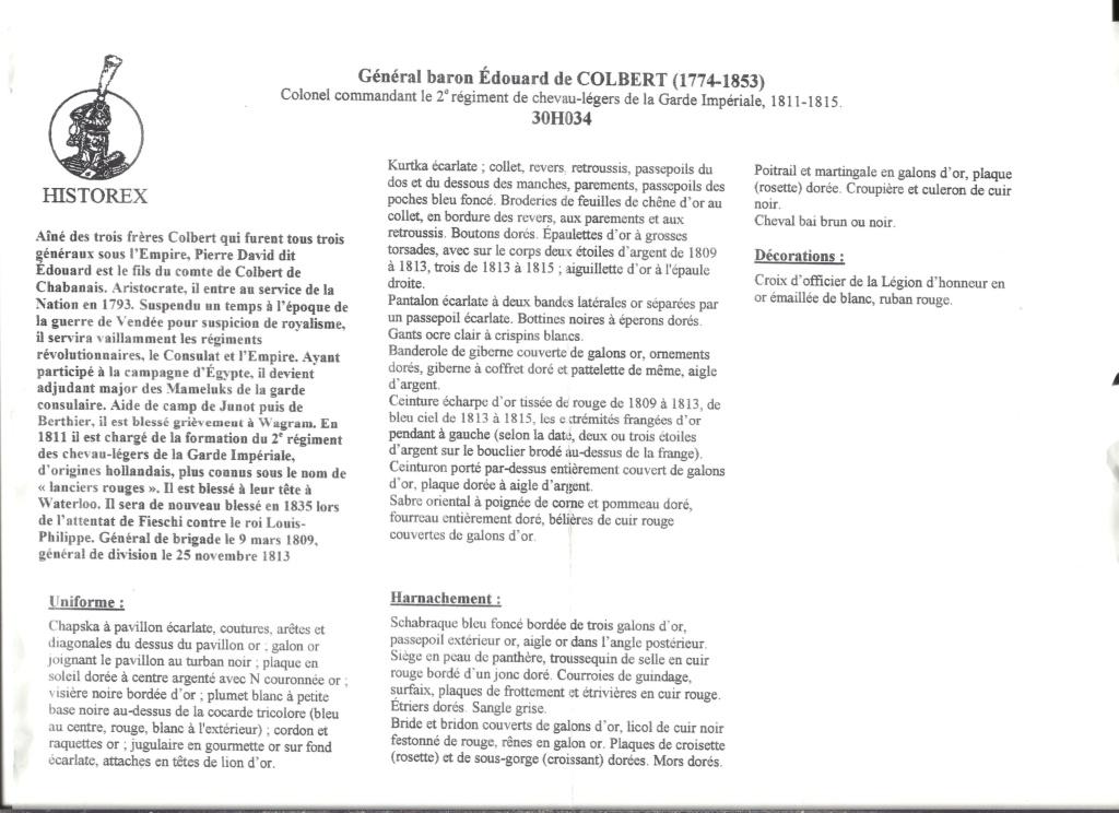 [HISTOREX] Général baron Edouard de COLBERT (1774 - 1853) Colonel commandant du 2ème Régiment de chevau-légers de la Garde impériale 1811 - 1815 1/30ème Réf 30H034 1 30 Notice Histo161
