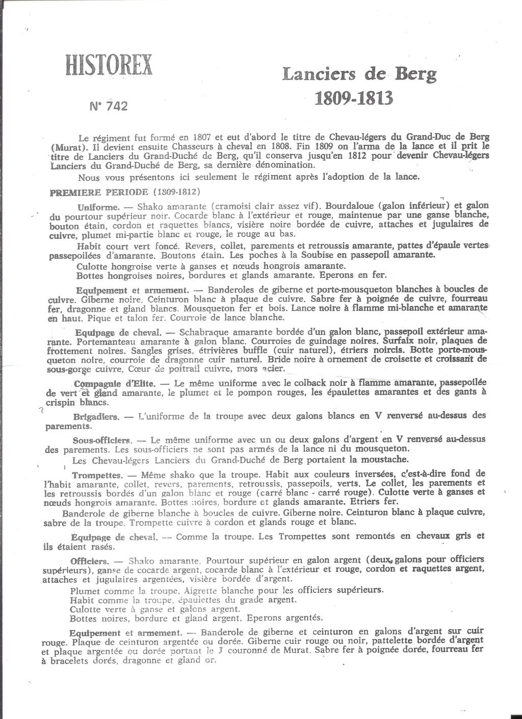 [HISTOREX] Régiment Chevaux-léger Lancier du Grand-Duché de BERG de la Garde Impériale 1809 - 1813 1/30ème Réf 742 Notice Histo175