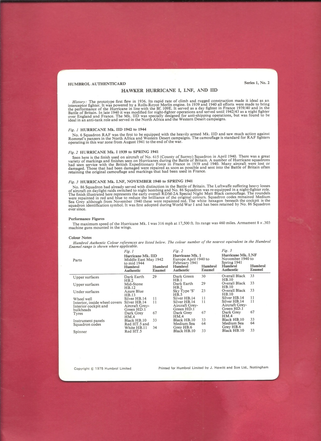[HUMBROL 1975] AUTHENTICARD Series 1 n°2 HAWKER HURRICANE I, INF & IID  Humbro11