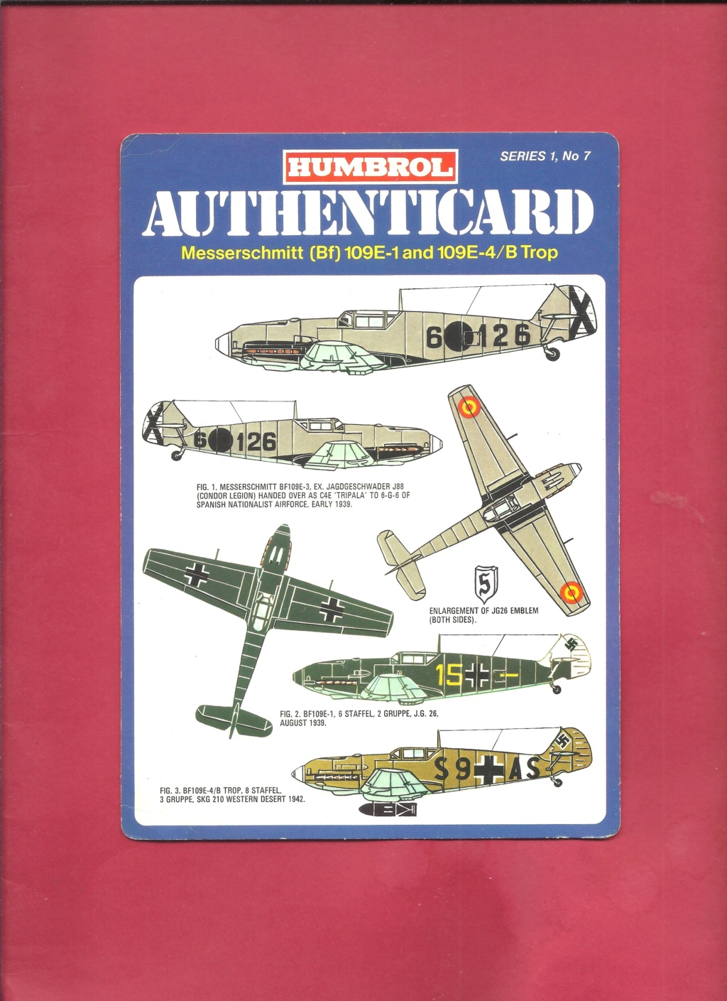 [HUMBROL 1975] AUTHENTICARD Series 1 n°7 MESSERSCHMITT Bf 109 E-1 & 109 E-4 Trop  Humbro12