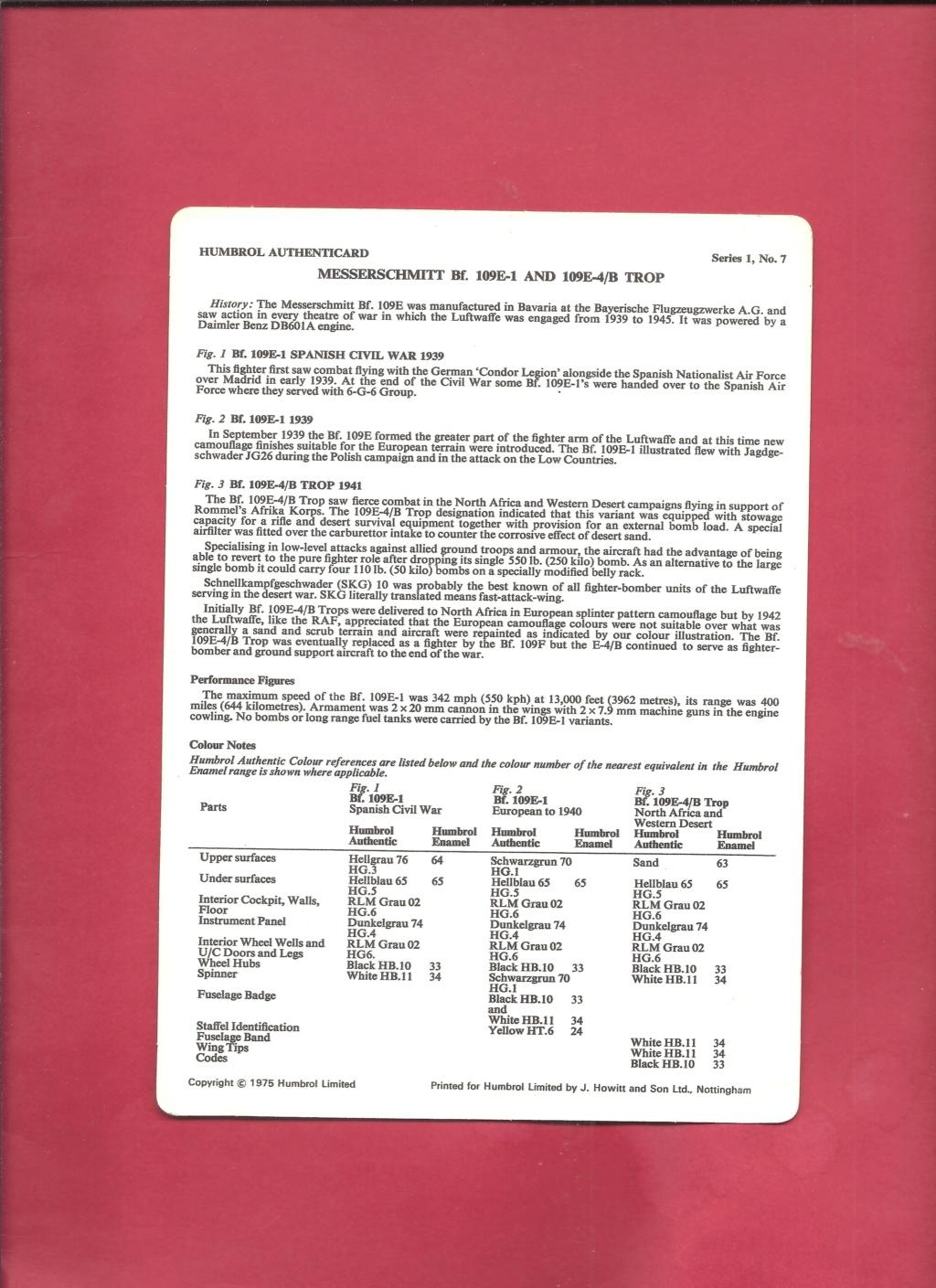 [HUMBROL 1975] AUTHENTICARD Series 1 n°7 MESSERSCHMITT Bf 109 E-1 & 109 E-4 Trop  Humbro13