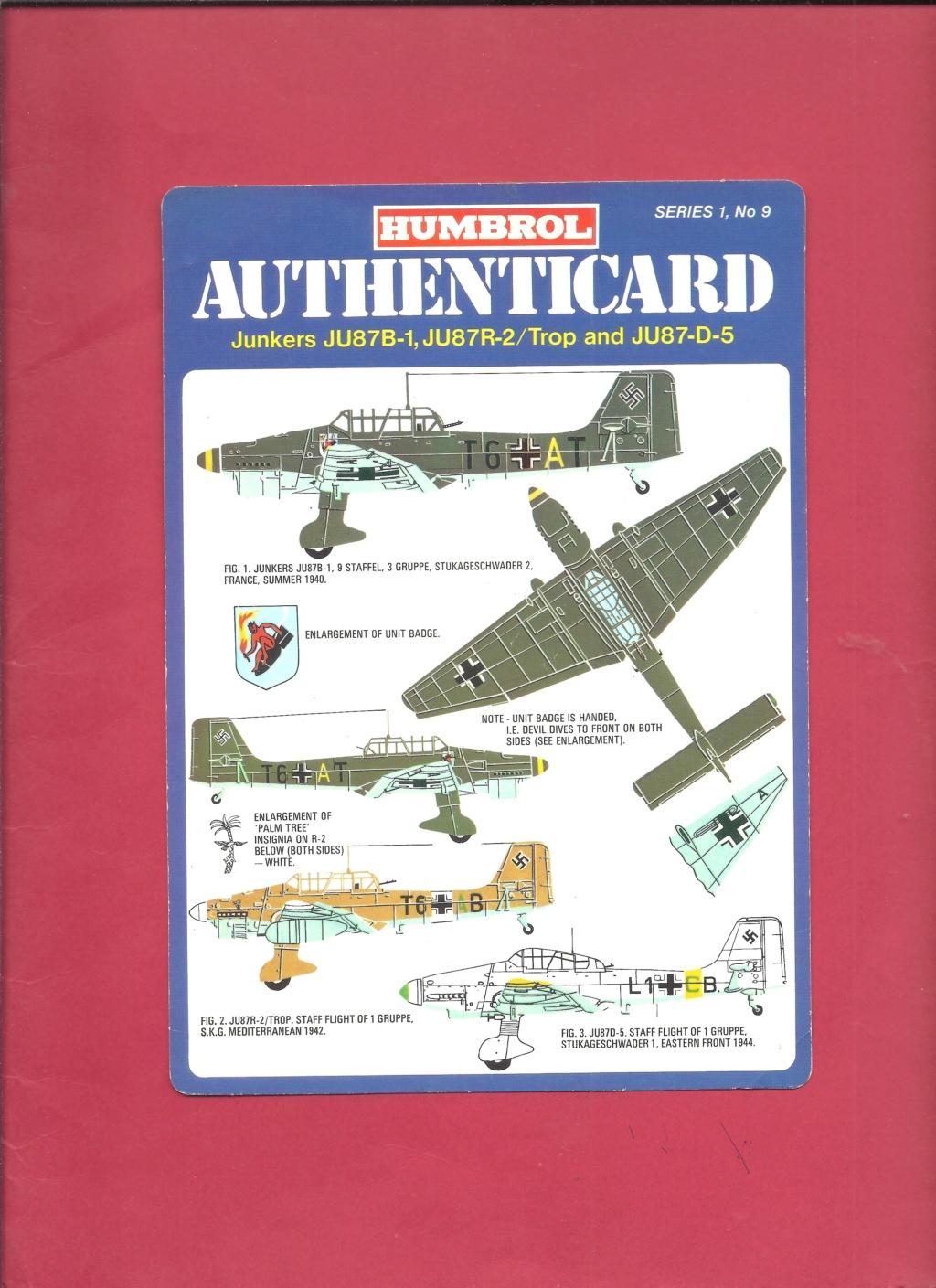 [HUMBROL 1975] AUTHENTICARD Series 1 n°9 JUNKERS Ju 87 B-1 Ju 87 R2, Trop & JU  87-D6  Humbro17