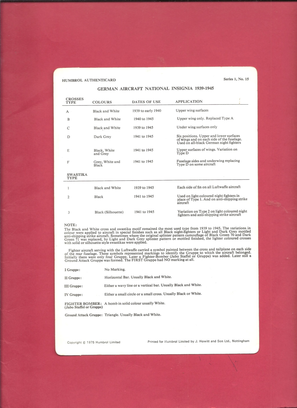 [HUMBROL 1975] AUTHENTICARD Series 1 n°10 LUFTWAFFE markings (1939 - 1945)  Humbro18