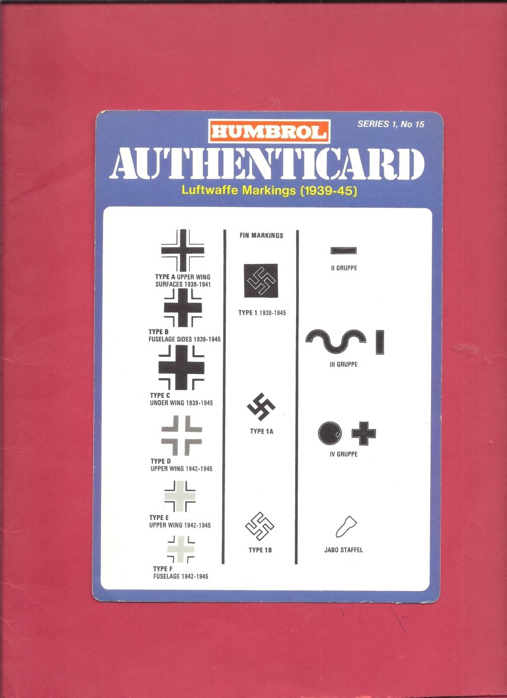 [HUMBROL 1975] AUTHENTICARD Series 1 n°10 LUFTWAFFE markings (1939 - 1945)  Humbro19